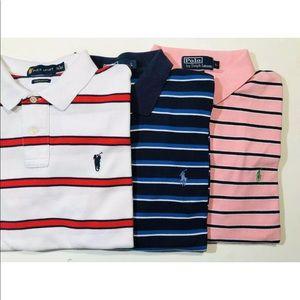 Lot of 3 polo Ralph Lauren polo shirts L Striped